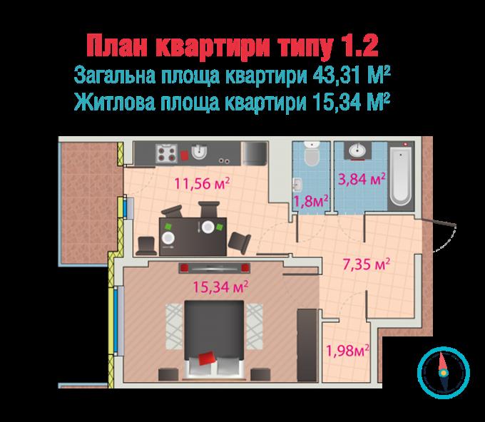 ЖК Мелоди Парк Пролиски вариант планировки однокомнатной квартиры
