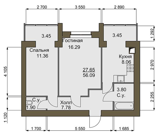 ЖК Софиевский квартал планировка двухкомнатной квартиры