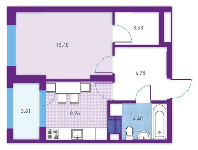 ЖК Урбан Парк Укрбуд вариант планировки однокомнатной квартиры