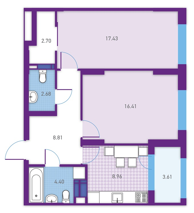 ЖК Урбан Парк Укрбуд вариант планировки двухкомнатной квартиры