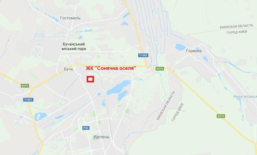 ЖК Сонячна оселя Буча на карте