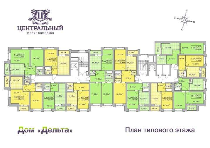 ЖК Центральный Ирпень поэтажный план дома Дельта