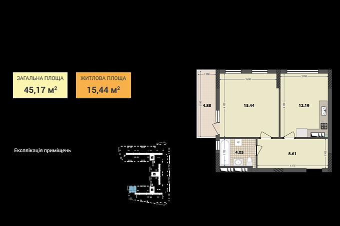ЖК Иль Патио Радужный вариант планировки однокомнатной квартиры
