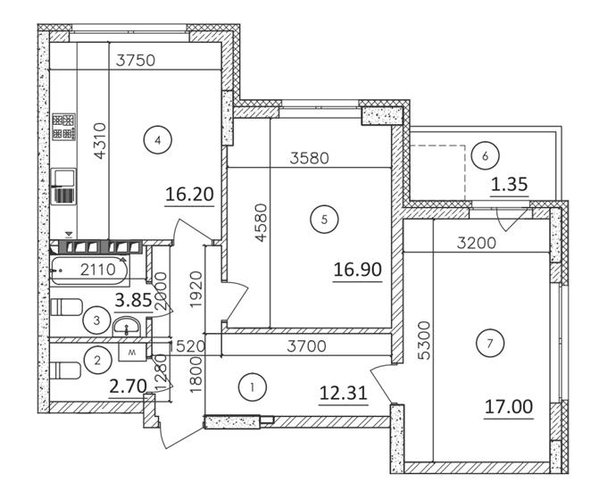 ЖК Каравай Тауер планировка двухкомнатной квартиры