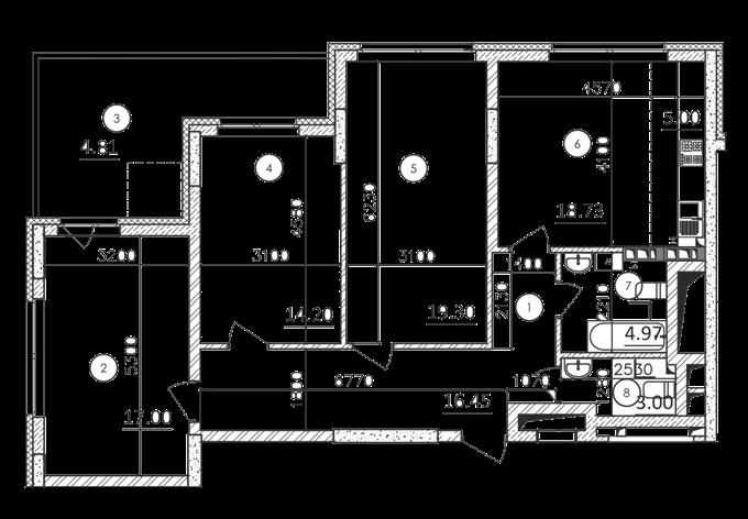 ЖК Каравай Тауер планировка трехкомнатной квартиры