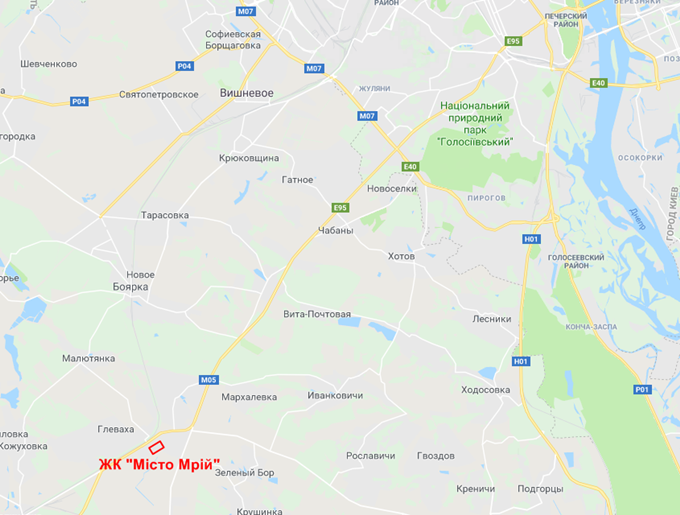 ЖК Мисто Мрий Глеваха на карте