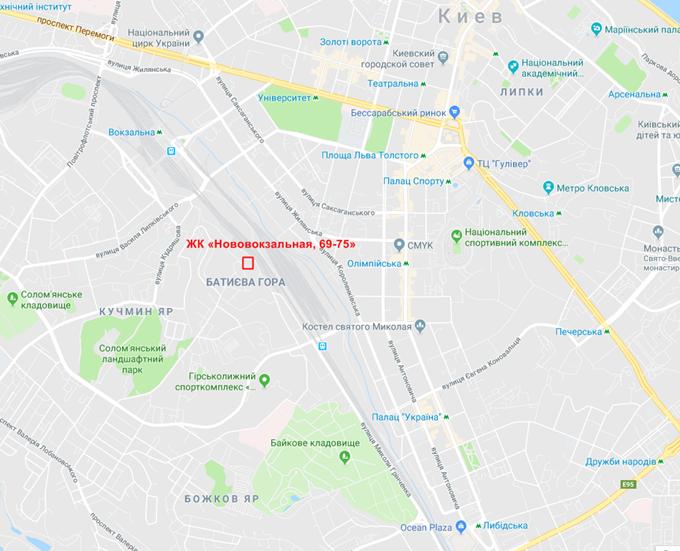 ЖК Нововокзальная 69-75 на карте