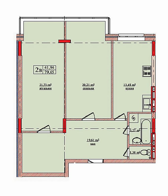 ЖК Нововокзальная 69-75 планировка двухкомнатной квартиры