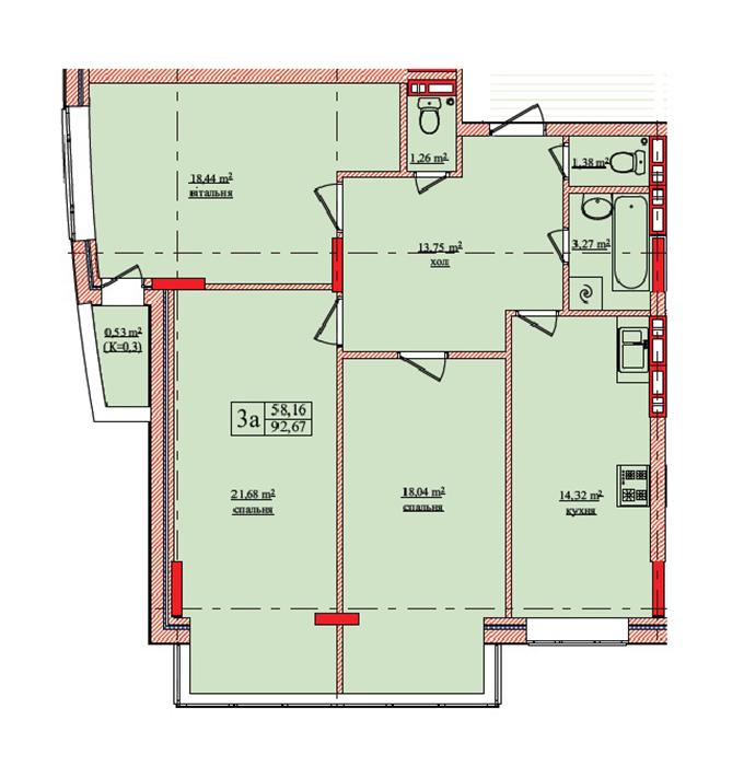 ЖК Нововокзальная 69-75 планировка трехкомнатной квартиры