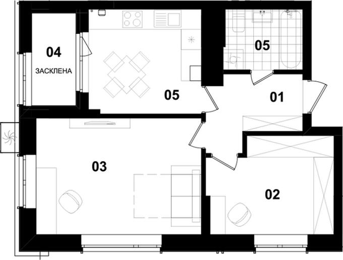 ЖК Ван Хаус Вишневое вариант планировки однокомнатной квартиры