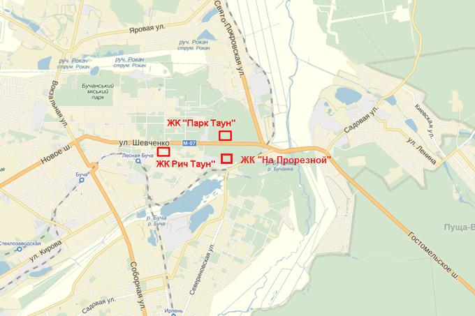 ЖК Парктаун Гостомель на карте