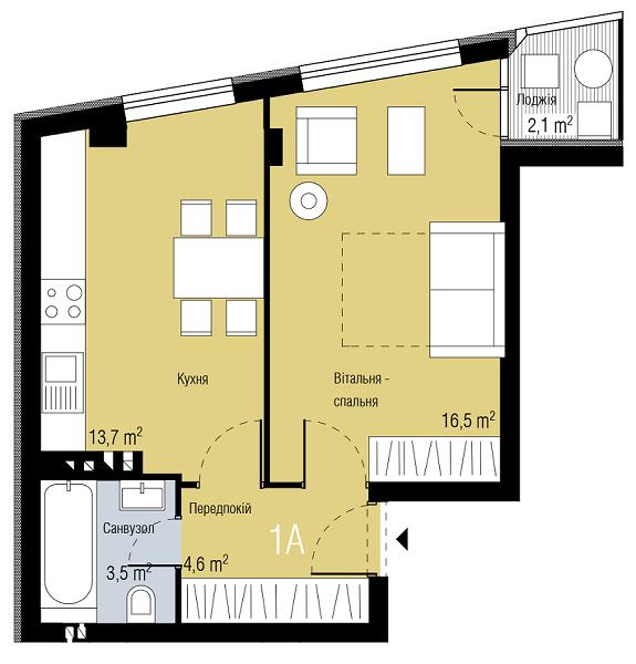 ЖК Парктаун Гостомель вариант планировки однокомнатной квартиры
