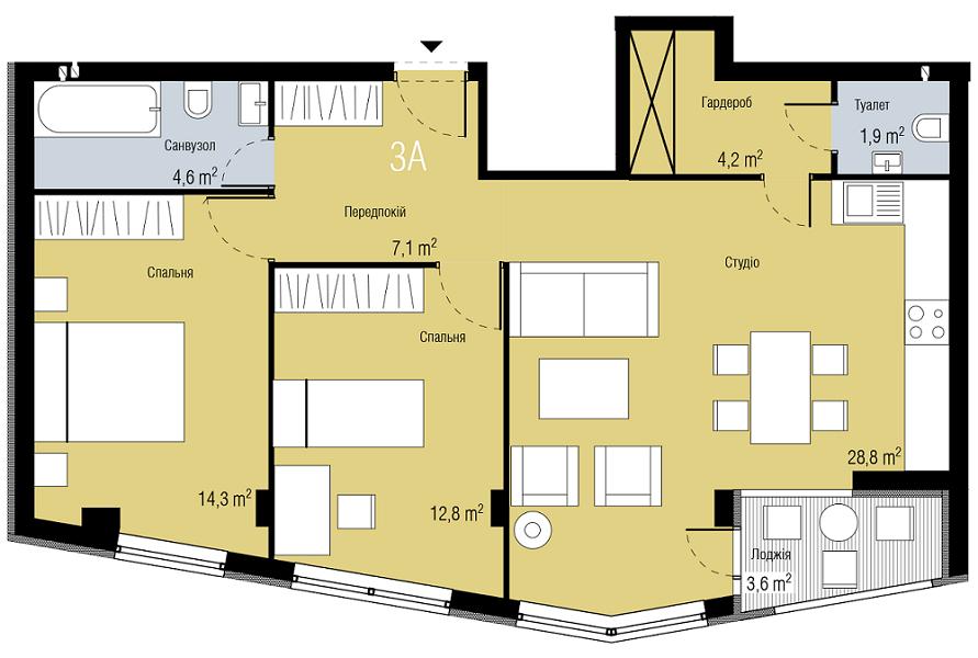 ЖК Парктаун Гостомель вариант планировки трехкомнатной квартиры