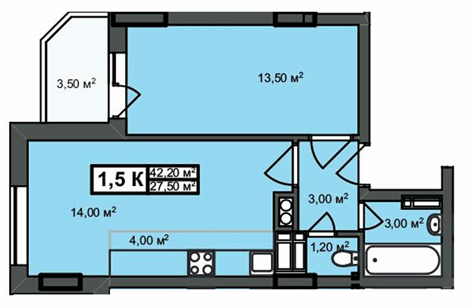ЖК Прованс Набережный вариант планировки однокомнатной квартиры