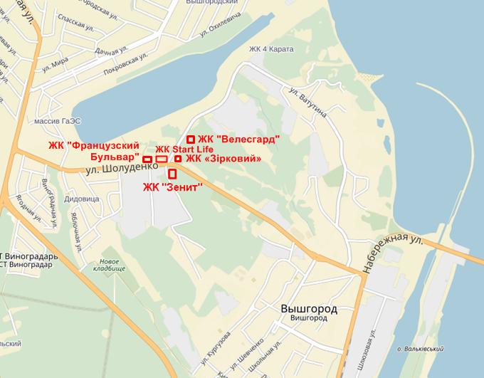 ЖК Старт лайф Вышгород на карте