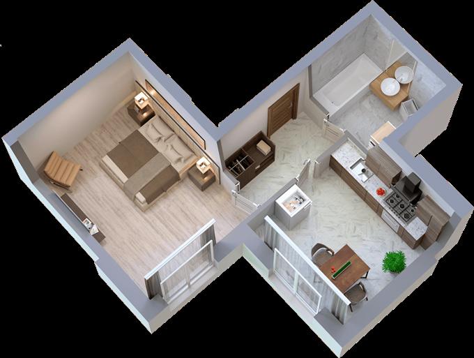 ЖК Телескоп Ковальская вариант планировки однокомнатной квартиры