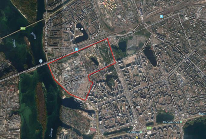ДПТ микрорайон Позняки промзона на карте