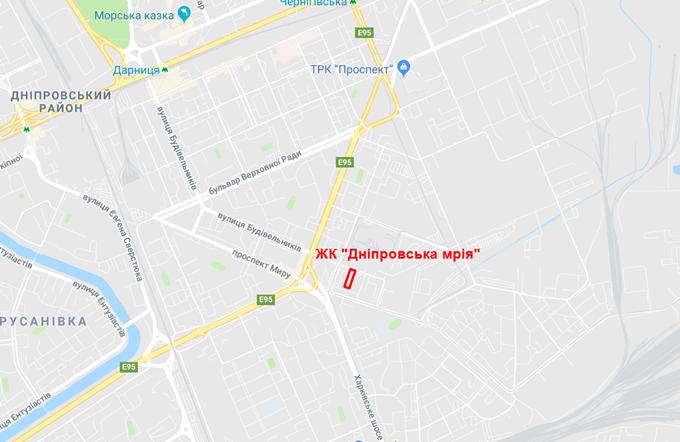 ЖК Дніпровська мрія на карте