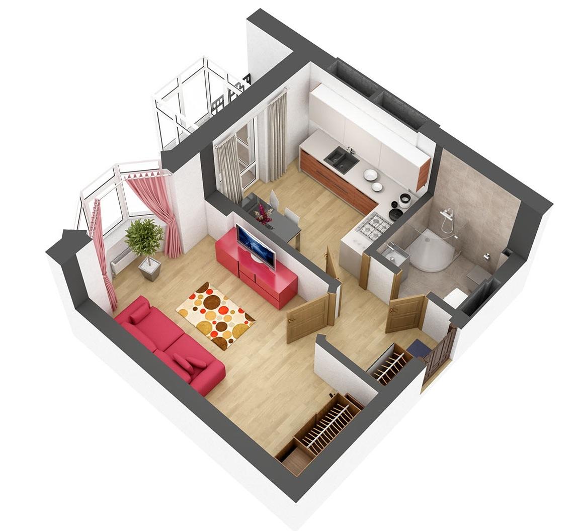 ЖК Гранд Бурже Буча вариант планировки однокомнатной квартиры