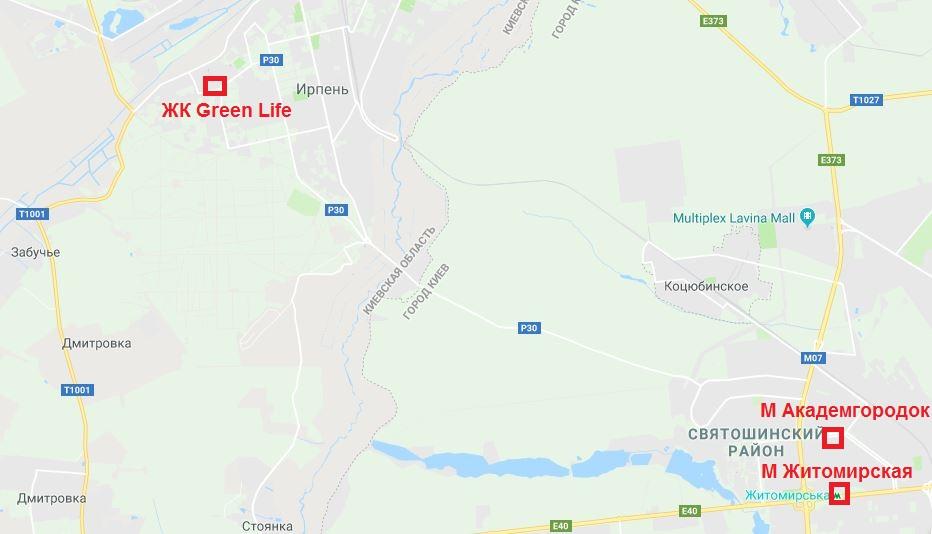 ЖК Грин Лайф Ирпень на карте