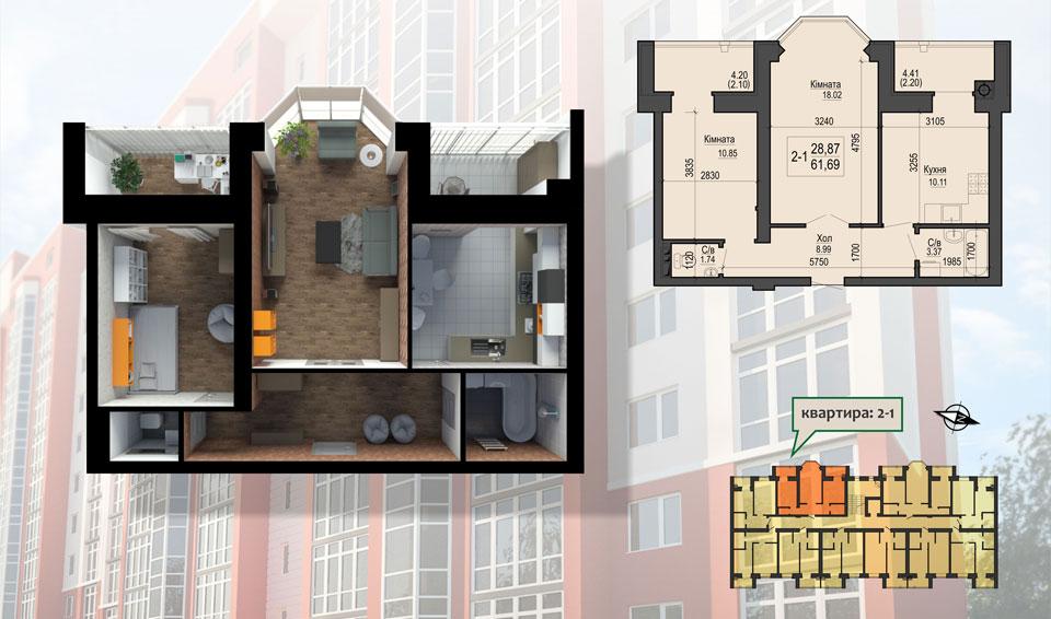 ЖК Грин Лайф Ирпень вариант планировки двухкомнатной квартиры