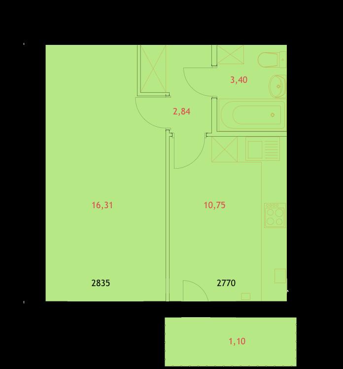 ЖК Грин Ярд Ирпень вариант планировки однокомнатных квартир