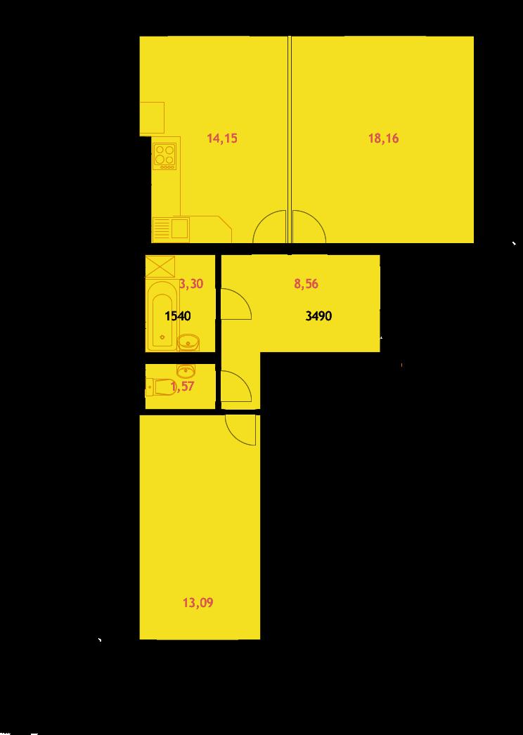 ЖК Грин Ярд Ирпень вариант планировки двухкомнатных квартир
