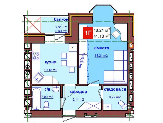 ЖК Карат Ирпень вариант планировки однокомнатной квартиры