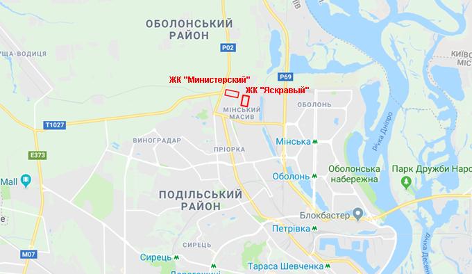 ЖК Министерский на карте