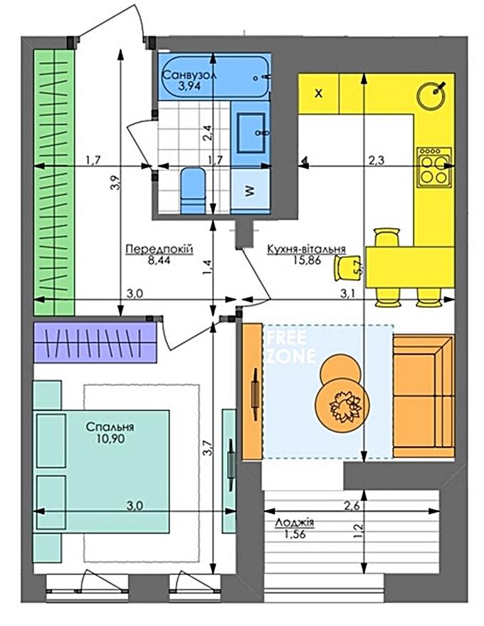 ЖК Республика Голосеево вариант планировки однокомнатной квартиры