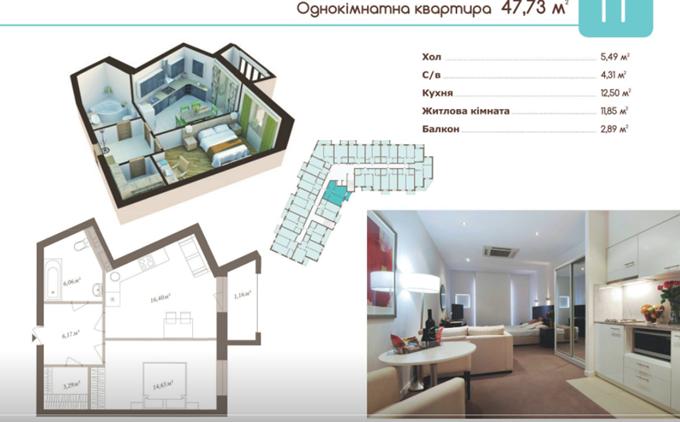 ЖК Славский Троещина вариант планировки однокомнатной квартиры