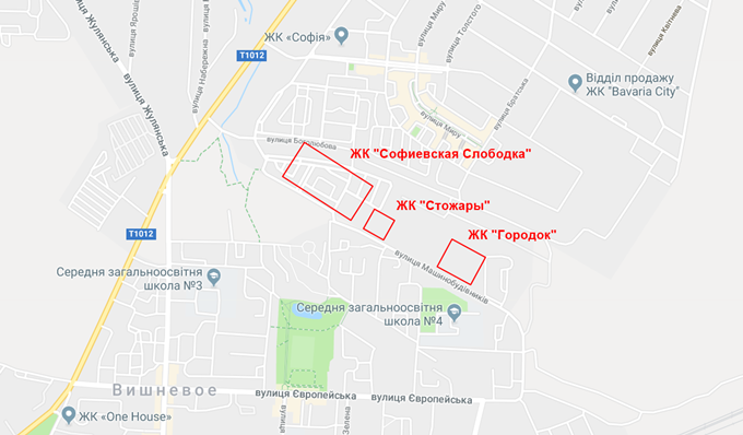 ЖК Стожары Вишневое на карте