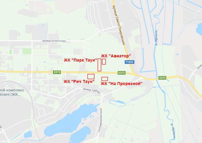 ЖК Авиатор Гостомель на карте