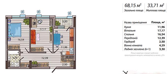 ЖК Французкий квартал 2 вариант планировки двухкомнатной квартиры