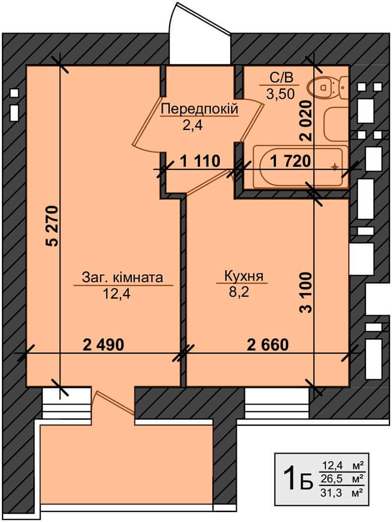 ЖК Миллениум Стейт в Буче вариант планировки однокомнатной квартиры