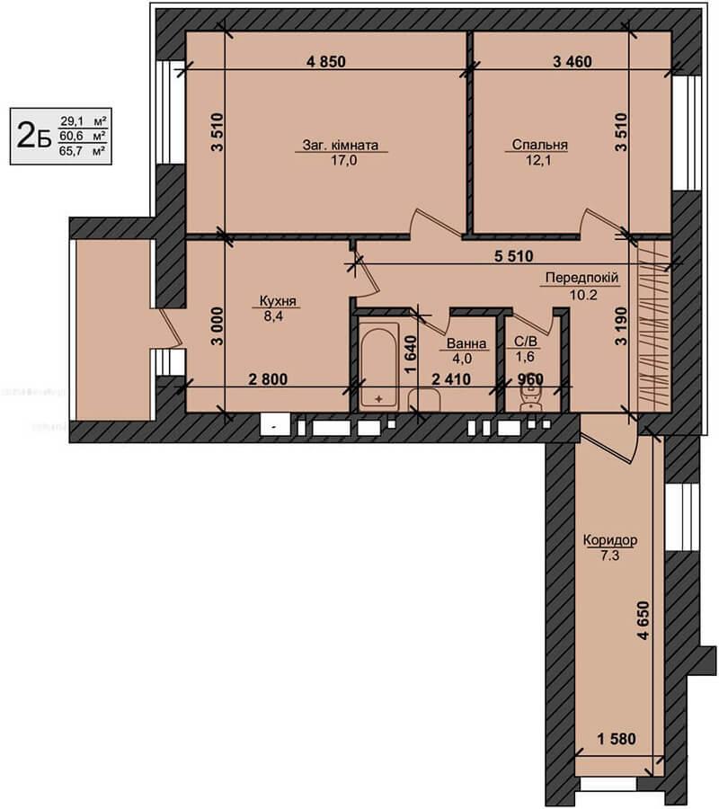 ЖК Миллениум Стейт в Буче вариант планировки двухкомнатной квартиры