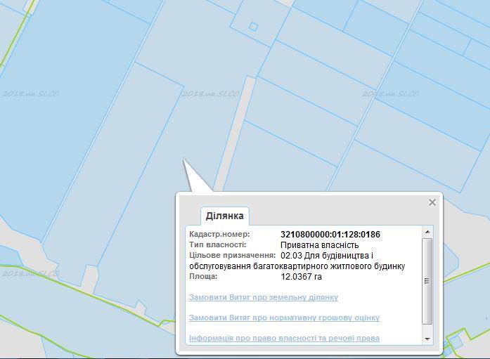 ЖК Новая Буча данные кадастровой карты