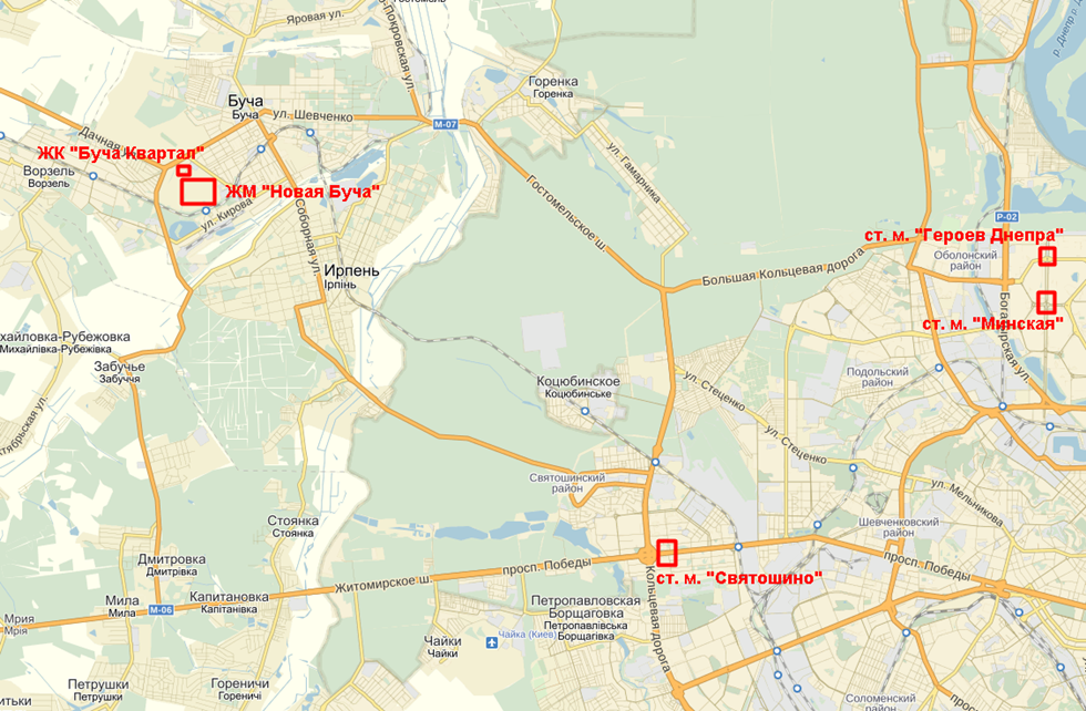 ЖК Новая Буча на карте