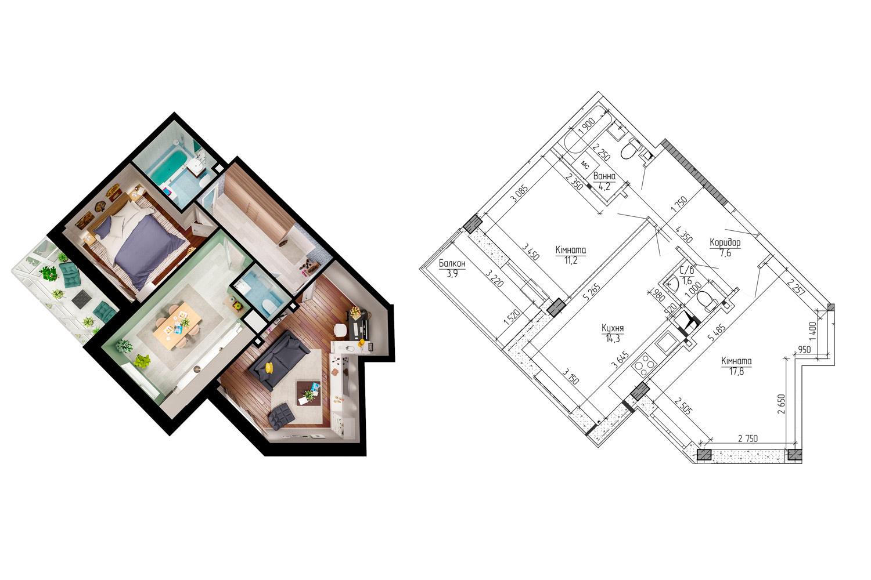 ЖК Новая Буча планировка двухкомнатной квартиры с пятиугольной кухней