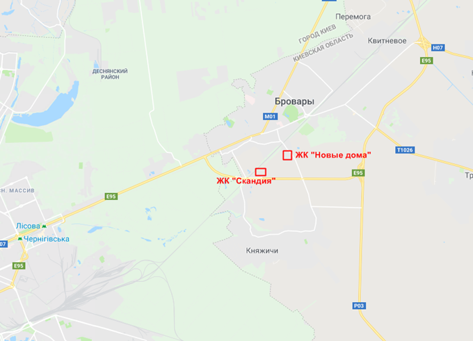 ЖК Новые дома в Броварах на карте