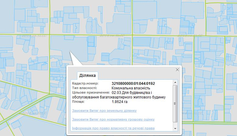 ЖК Паркова оселя Буча кадастровая карта
