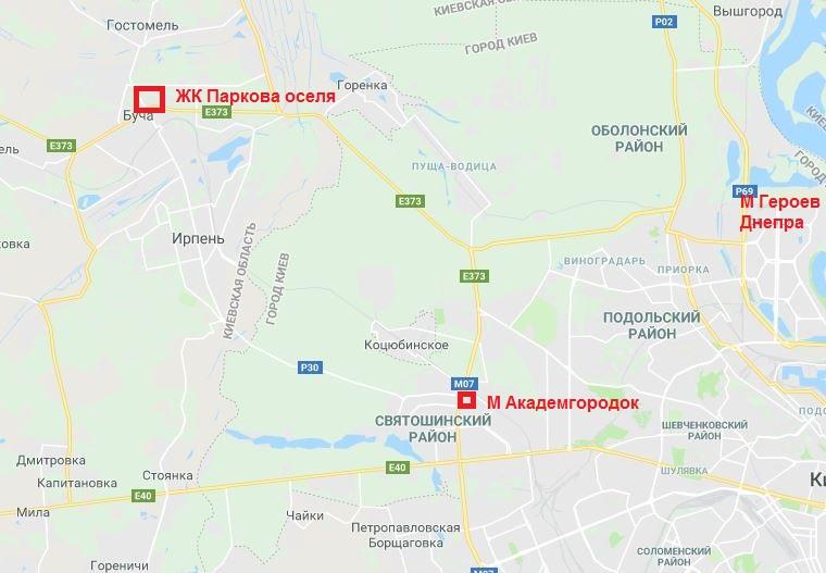 ЖК Паркова оселя Буча на карте