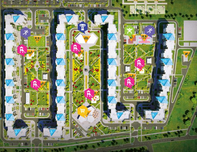 ЖК Парковый квартал Город цветов с собственной инфраструктурой генплан