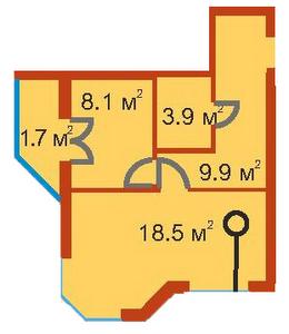 ЖК Сяйво 2 Ирпень вариант планировки однокомнатной квартиры
