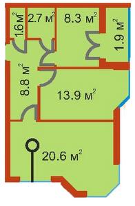 ЖК Сяйво 2 Ирпень вариант планировки двухкомнатной квартиры