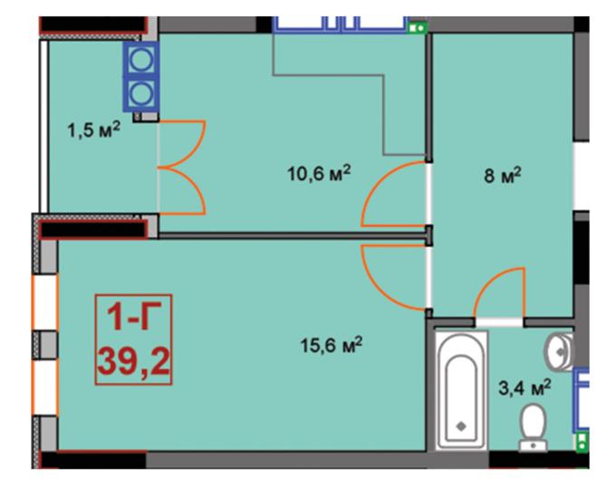 ЖК Скай 2 Ирпень вариант планировки однокомнатной квартиры