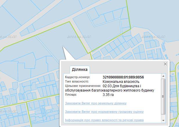 ЖК Фортуна 2 в Ирпене данные кадастровой карты