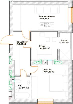 ЖК Фортуна 2 в Ирпене вариант планировки двухкомнатной квартиры