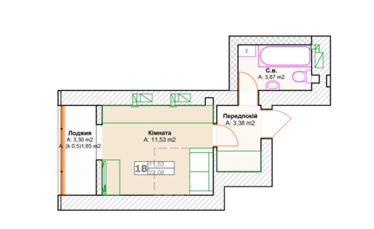 ЖК Фортуна 2 в Ирпене вариант планировки квартиры