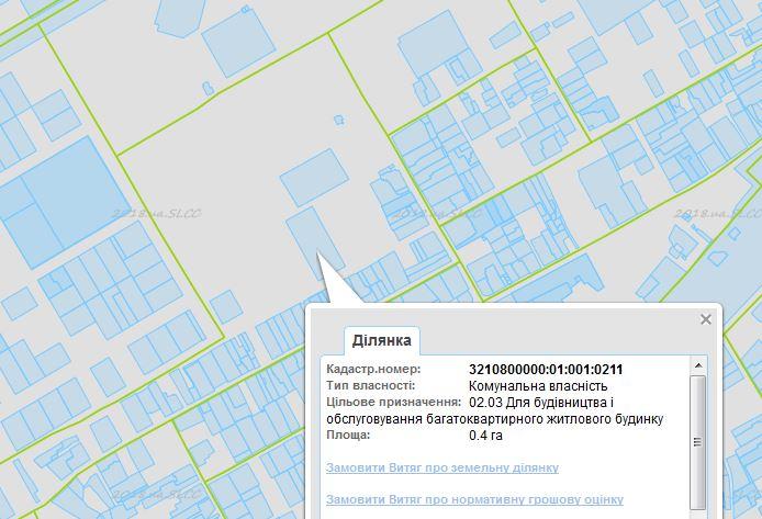 ЖК Голд сити в Буче данные кадастровой карты